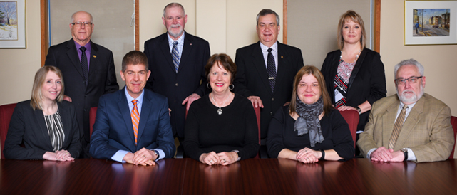 Photo current as of February 2018. Back row, L to R: Lucien Sonier, Hector Losier, Gaëtan Guérette and Tina Soucy. Front row, L to R: Julie Marr, Tim Petersen, Dorine Pirie, Haley Flaro and James Stanley. Missing: Maureen Wallace, Michèle Caron.