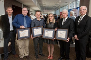 WorkSafeNB announced the recipients of its 2018 Safety Star Awards at its annual Health and Safety Conference in Fredericton on Friday, October 5. From left: <b>Tim Petersen</b>, Vice-President of Prevention, WorkSafeNB; <b>Benjamin Kelly</b>, Health and Safety Educator Award (anglophone) recipient, Caledonia Regional High School; Ricky Laboissonnière, Health and Safety Educator Award (francophone) recipient, École Louis-J.-Robichaud; <b>Nikol Ralcheva</b>, Health and Safety Leader Award recipient, Fredericton Multicultural Association; <b>Peter Morgan</b>, Health and Safety Champion Award recipient, City of Saint John; <b>Douglas Jones</b>, President and CEO, WorkSafeNB. <i>Photo: Stephen MacGillivray/For WorkSafeNB</i>