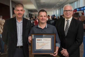 WorkSafeNB announced the recipients of its 2018 Safety Star Awards at its annual Health and Safety Conference in Fredericton on Friday, October 5. From left: <b>Tim Petersen</b>, Vice-President of Prevention, WorkSafeNB; <b>Ricky Laboissonnière</b>, Health and Safety Educator Award (francophone) recipient, École Louis-J.-Robichaud; and <b>Douglas Jones</b>, President and CEO, WorkSafeNB. <i>Photo: Stephen MacGillivray/For WorkSafeNB</i>