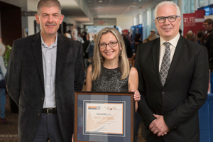 WorkSafeNB announced the recipients of its 2018 Safety Star Awards at its annual Health and Safety Conference in Fredericton on Friday, October 5. From left: <b>Tim Petersen</b>, Vice-President of Prevention, WorkSafeNB; <b>Nikol Ralcheva</b>, 2018 Health and Safety Leader Award recipient, Fredericton Multicultural Association; and <b>Douglas Jones</b>, President and CEO, WorkSafeNB. <i>Photo: Stephen MacGillivray/For WorkSafeNB</i>